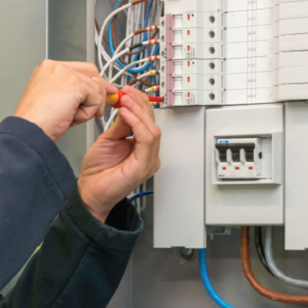 Engineer working on electrical service